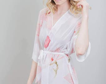 Blush Bridal Floral Robe | Bridesmaid Flower Cover-Up | Pink Getting Ready Bridesmaids Robe [Mae Robe]