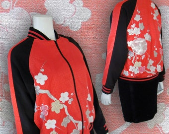 Full Zip Embroidered  Bomber Style Blouson Jacket/ Small Size (XS~M)/ Japanese Vintage Kimono Recycled