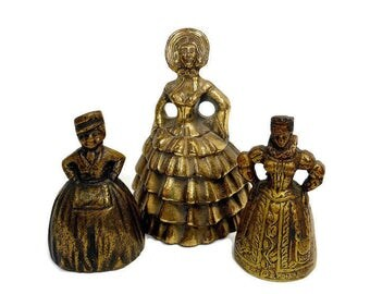 3 Vintage Solid Brass Bells / Women Costume Victorian Colonial Lady Bell Collection / Mid Century Decorative Dinner Hand Bells / England