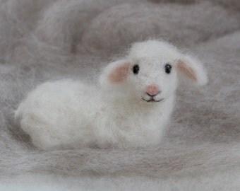 Needle Felted Lamb, Baby Sheep, Nativity