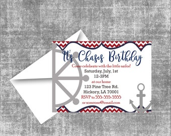 Nautical Boy Birthday Invitation