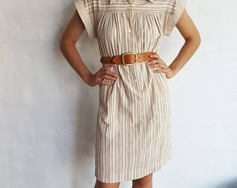 Vintage Bone Striped Dress, Medium