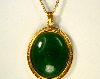 Green JADE Pendant, Stone Oval in Goldtone Setting on Thin Shiny Gold Chain, Traditional Amulet In Chinese Stone
