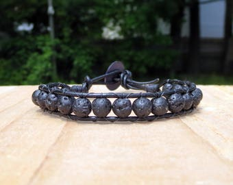 Black Leather Lava Stone Diffuser Jewelry For Essential Oils, Unisex Aromatherapy Beaded Wrap Around, Stress Relief for Men, Edgy Bracelet