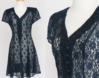 90's Navy Blue Lace Dress / Flirty Skirt / Corset Back / Short Sleeves / Button Front / Small