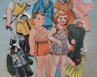 Vintage Fred and Vera Children Paper Dolls and Clothes