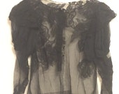 Sheer embroidered vintage top black victorian lace embellished small