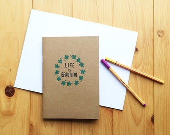 life is beautiful journal. clover hand printed art journal. children sketchbook. school notebook. white pages. large (A5). paper stationery