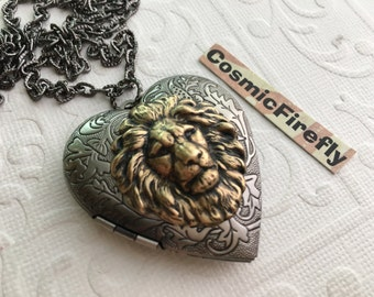 Lion Heart Necklace Brass Lion Head Locket Necklace Antiqued Silver Locket Heart Locket Leo Lion Jewelry Women's Locket