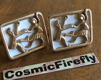 Men's Vintage Cufflinks Swing Dancing Cufflinks Antique Gold Tone Plated Cufflinks Antique Cufflinks