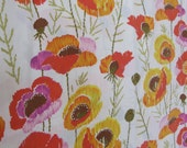 Bright Retro Poppies Vintage Cotton Muslin Twin Flat Sheet