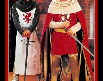 DASHING CAMELOT KING-Knight Ensemble-Costume Sewing Pattern-Tunics-Lined Cape-Helmut-Dragon Applique-Boot Covers-Belt-Uncut-Size Lg-Xlg-Rare