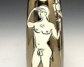 The Star Gazer; Classic Male Nude Form; Stoneware Vessel, Fine Ceramic Art; Florida Keys