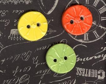 citrus ceramic button set Artisan clay buttons leaf button Large button fruit buttons lime green lemon button orange button spring summer