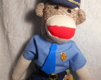 Sock Monkey Policeman or Woman New Original Rockford Red Heel Classic Handmade