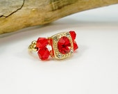Red and Gold Statement Ring, Cocktail Ring, Stretch Band Ring, Crystal Ring, Gold Stretch Ring, Crystal Ring, Gift for Her