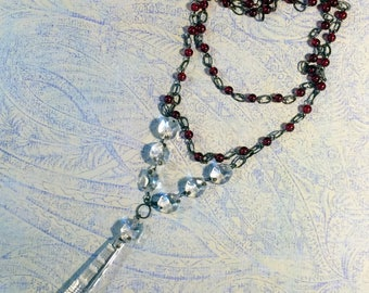 Crystal necklace, Red beaded necklace