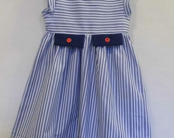 Navy stripe, double tab and button little girls dress