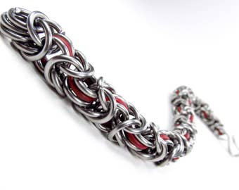 Thick Red - Chainmaille Bracelet - Byzantine