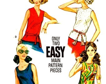 Vintage 1960s Sleeveless Blouse Round V Neckline Tank Top Boat Bateau Neck Misses Butterick 3318 Sewing Pattern Size 10 14 Bust 32.5 36