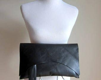 RESERVED LISTING - LEATHER Large Oversized Huge Clutch Bag Purse Shoulder Strap Cross Body - Raw, Rustic w/ Raw Edge - Solid Black