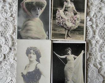 Antique theatre photo postcard lot, Antique Belle Epoque photo postcard lot, Antique French stage star photo postcard lot, Antique RPPC lot