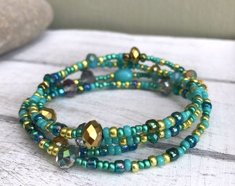 Turquoise Wrap Bracelet, Beaded Wrap, Bohemian Bracelet, Glass Beaded Bracelet, Gold, Turquoise, Blue and Green, Gift for Her, Boho Wedding
