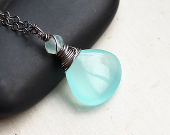 "Aqua Chalcedony Necklace on Oxidized Sterling Silver - ""Aruba""  by CircesHouse on Etsy"
