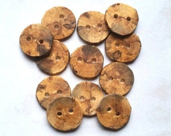 Handmade Wooden Buttons, Wood Buttons, Natural Wood Buttons, Oak Tree Branch Buttons, Set of 12, 1 1/8 Inch