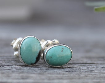 Turquoise Sterling Oval Natural Gemstone Post Stud  Small Ear Studs Sterling Silver Handmade Jewelry