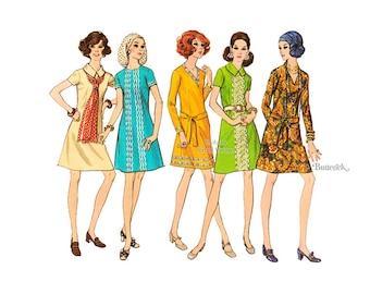 Jewel Neck A Line Dress Pattern Butterick 5836 1970's Half Size Dress Sewing Pattern, Bust 41, Uncut