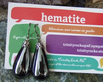Elegant Shiny Hematite Earrings Titanium Ear Wires Hypo Allergenic Handmade in Newfoundland YANG Alaska Black Diamond