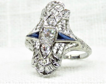 Art Deco 18k Gold Diamond and Sapphire Dinner Ring .47 Carats