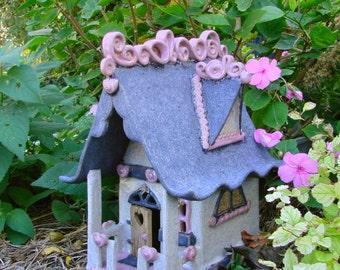 Fairy outdoor house Handbuilt Ceramic Garden Art Decoration Gardener Gift Cottage Charming Country gnome hand built hand-built