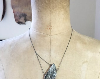 Silver Biotite...in sterling silver web necklace