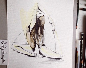 Untitled // ORIGINAL yoga drawing