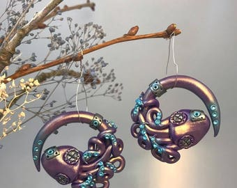 2 Gauge Metallic Purple, Steampunk Octopus, Earrings for Stretched lobes