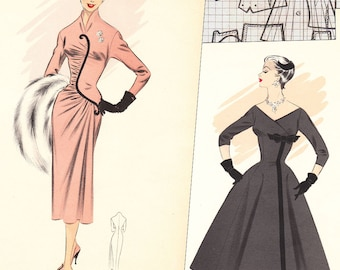 PDFs of vintage 50s sewing pattern system - Winter 1957 - instant download