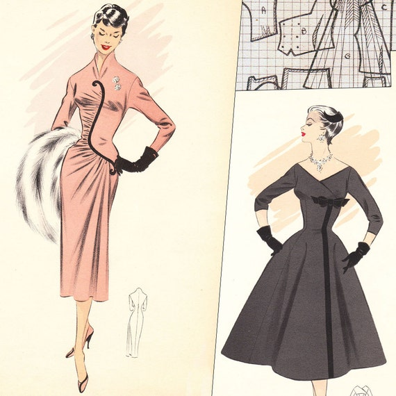 PDF of 50s fashions – pattern drafting system – Winter 1957 - instant download