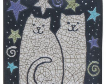 Cats, Kitties, Stars, raku ,art ,tile white cats,handmade ceramic tile, home decor, wall art