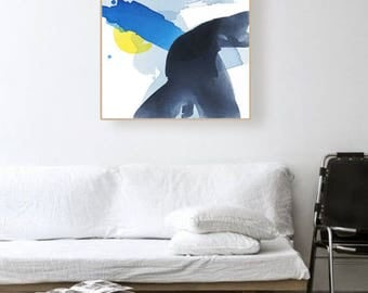 """Original Abstract Landscape Canvas Art, blue, slate, grey, yellow 25 x 30""""  """"Slate River - Sun Reflection"""" modern contemporary painting"""