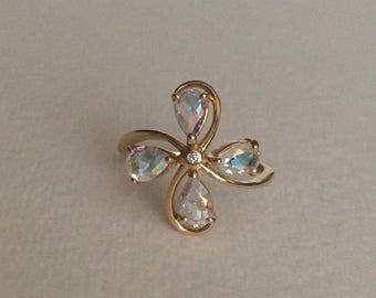 Mercurty Mist topaz and diamond 14k gold pinwheel ring