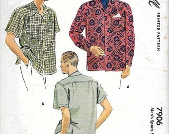 McCall 7906 1950s Mens Sport Shirt Vintage Sewing Pattern Medium