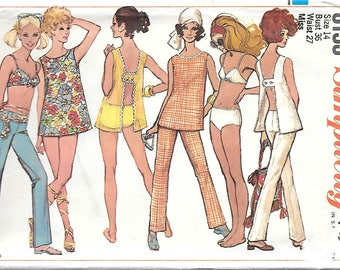 Simplicity 8153 1960s Bikini Hip Hugger Pants and Beach Coverup Vintage Sewing Pattern Size 14 Bust 36 Mod