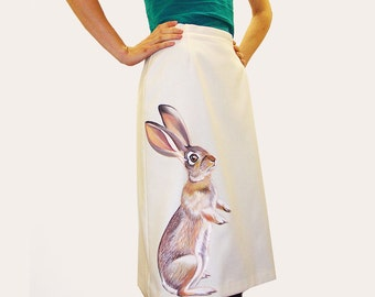 Curious Cottontail Rabbit skirt - handpainted, one of a kind upcycled vintage cream wool blend fitted pencil skirt - womens size 8, XS