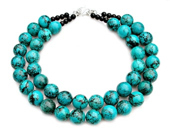 Chunky Turquoise Necklace Double Strand STATEMENT Southwest Navajo Jewelry Country Chic Couture Rustic High Fashion Style by Mei Faith