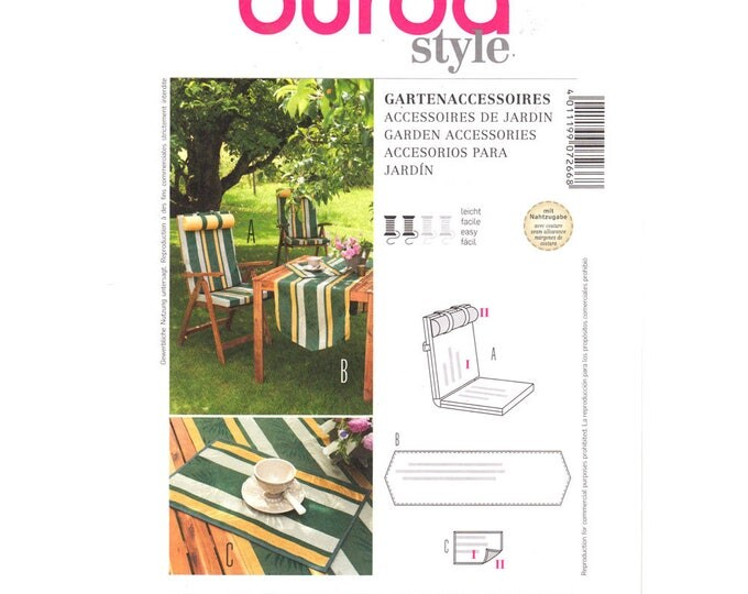 Burda 7266 Garden Accessories Pattern Chair Pad, Table Runner, Placemat Easy Outdoor Patio Decor