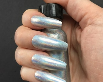Plain Silver Gold Holo Press On Nails- Choose Coffin, Stiletto, Square, Oval Nails, Single Color Nails, Short or Long, Holo Nails