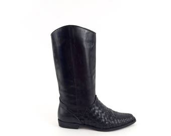 90s black WOVEN leather RIDING boots 7 us, 37 eur
