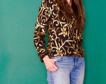 vintage GOLD sequin silk blouse S